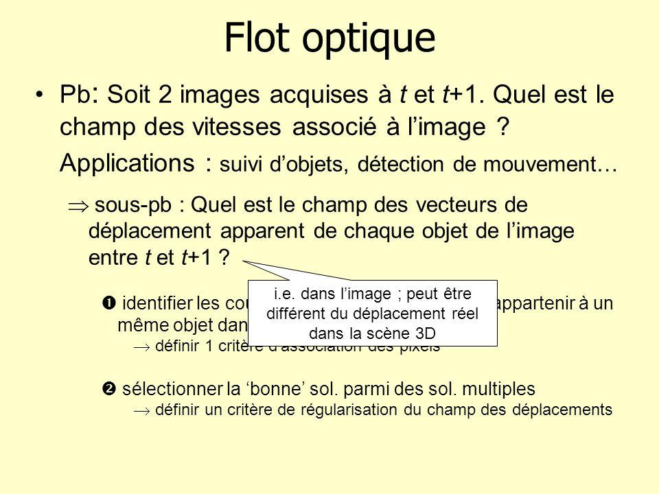 Flot optique Pb: Soit 2 images acquises à t et t+1. Quel est le champ des vitesses associé à l'image