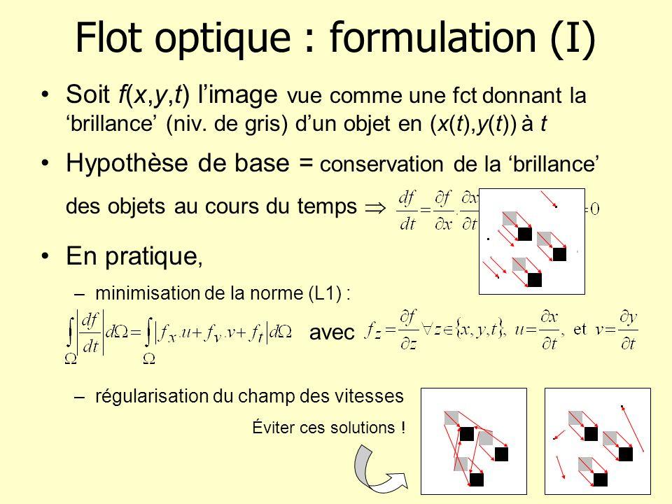 Flot optique : formulation (I)