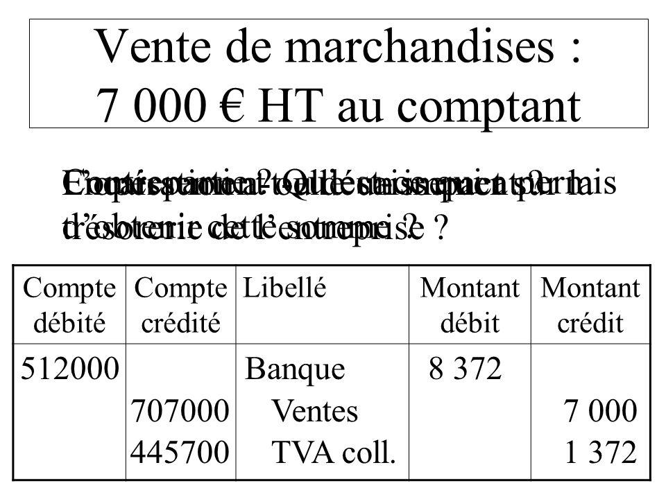 Vente de marchandises : 7 000 € HT au comptant