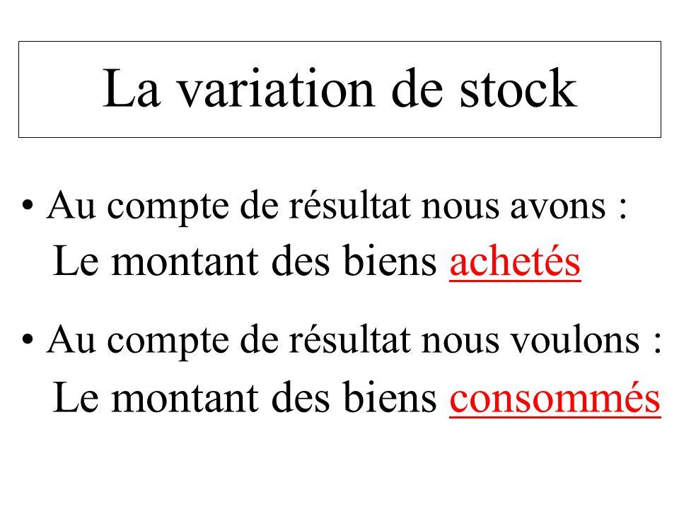 La variation de stock Le montant des biens achetés