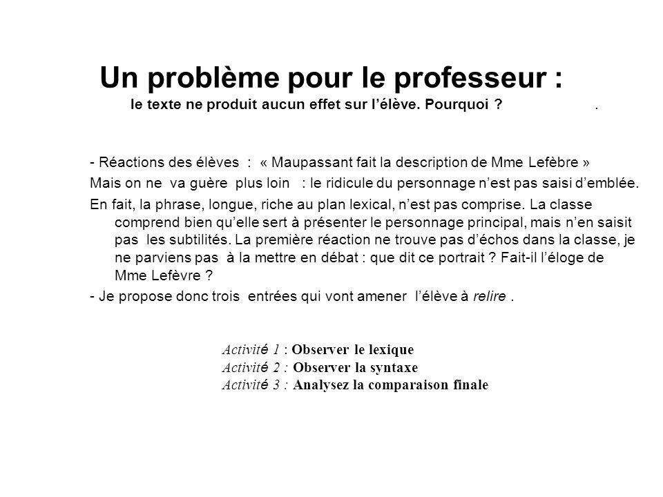 Un problème pour le professeur :