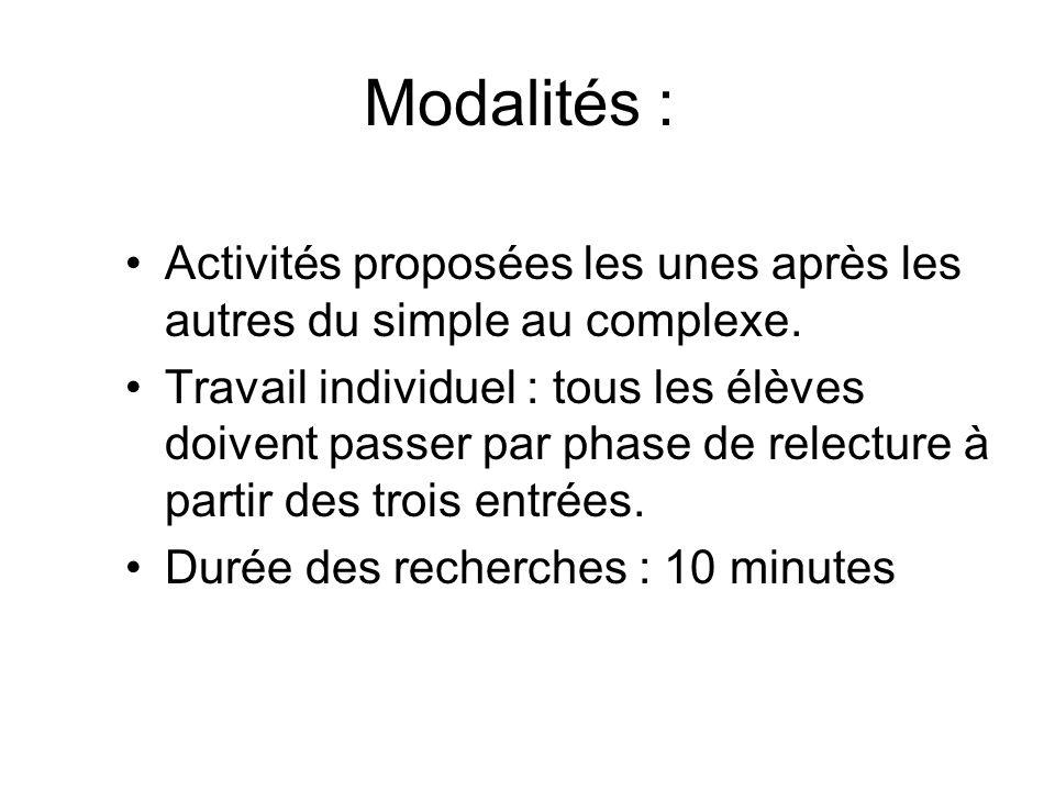 Modalités :Activités proposées les unes après les autres du simple au complexe.