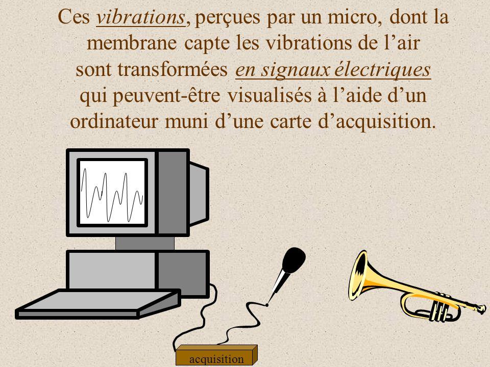 Ces vibrations, perçues par un micro, dont la membrane capte les vibrations de l'air sont transformées en signaux électriques qui peuvent-être visualisés à l'aide d'un ordinateur muni d'une carte d'acquisition.