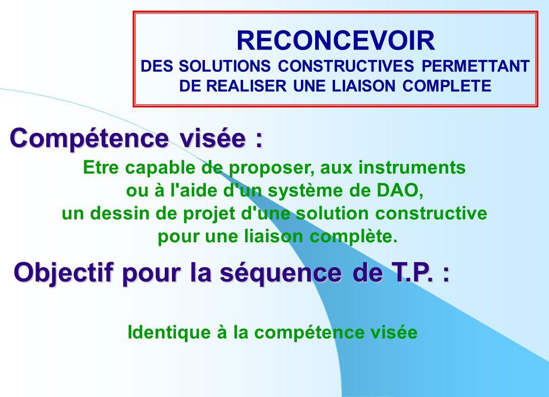 RECONCEVOIR Compétence visée : Objectif pour la séquence de T.P. :