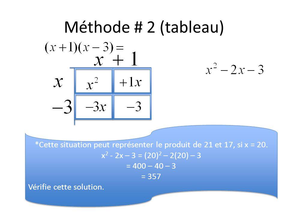 *Cette situation peut représenter le produit de 21 et 17, si x = 20.