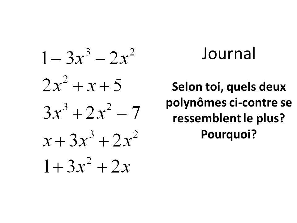 Journal Selon toi, quels deux polynômes ci-contre se ressemblent le plus Pourquoi