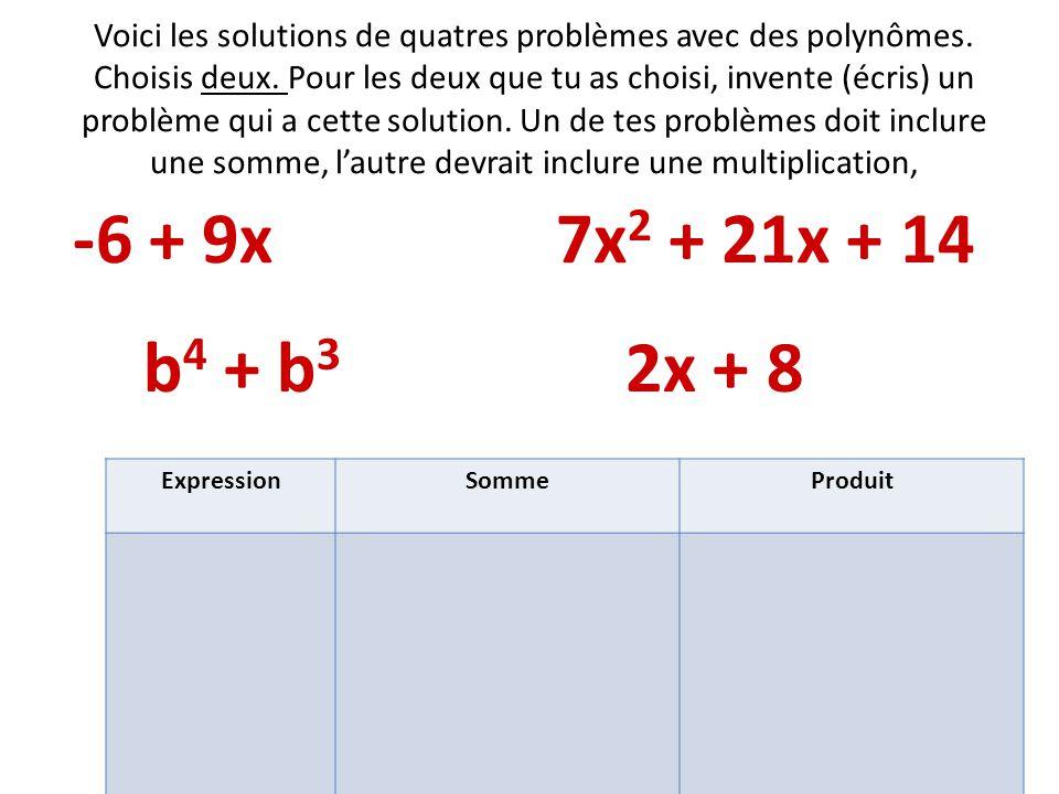 Voici les solutions de quatres problèmes avec des polynômes