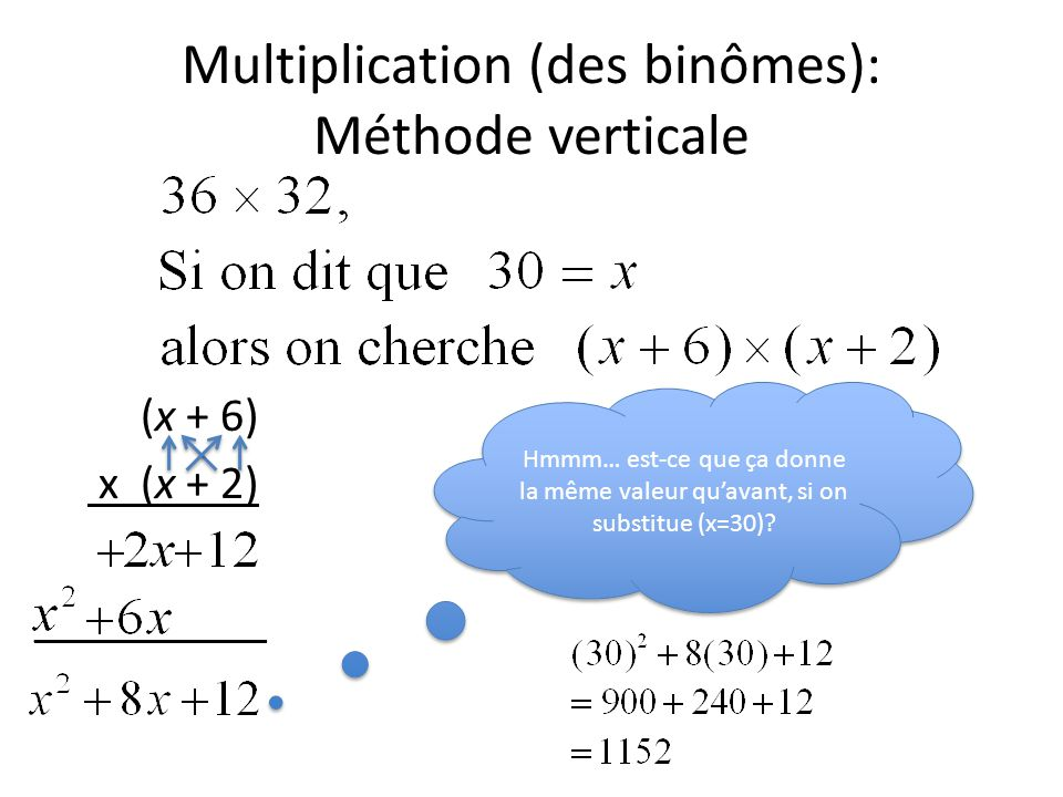 Multiplication (des binômes): Méthode verticale