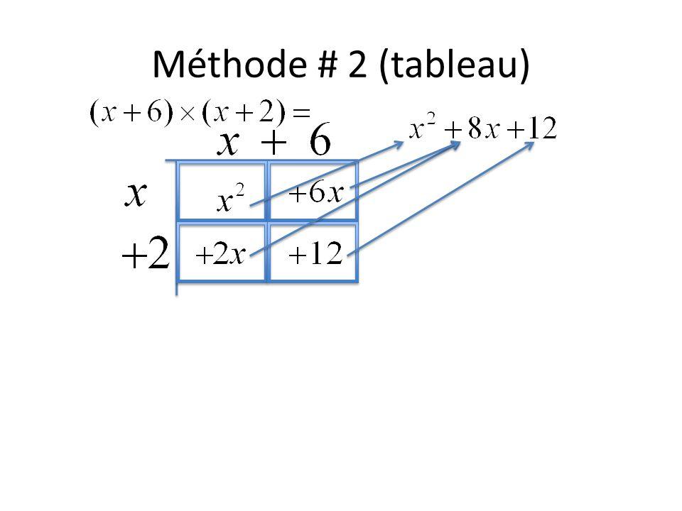 Méthode # 2 (tableau)