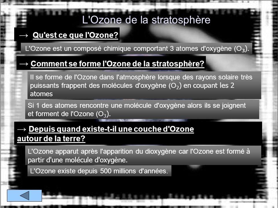L Ozone de la stratosphère