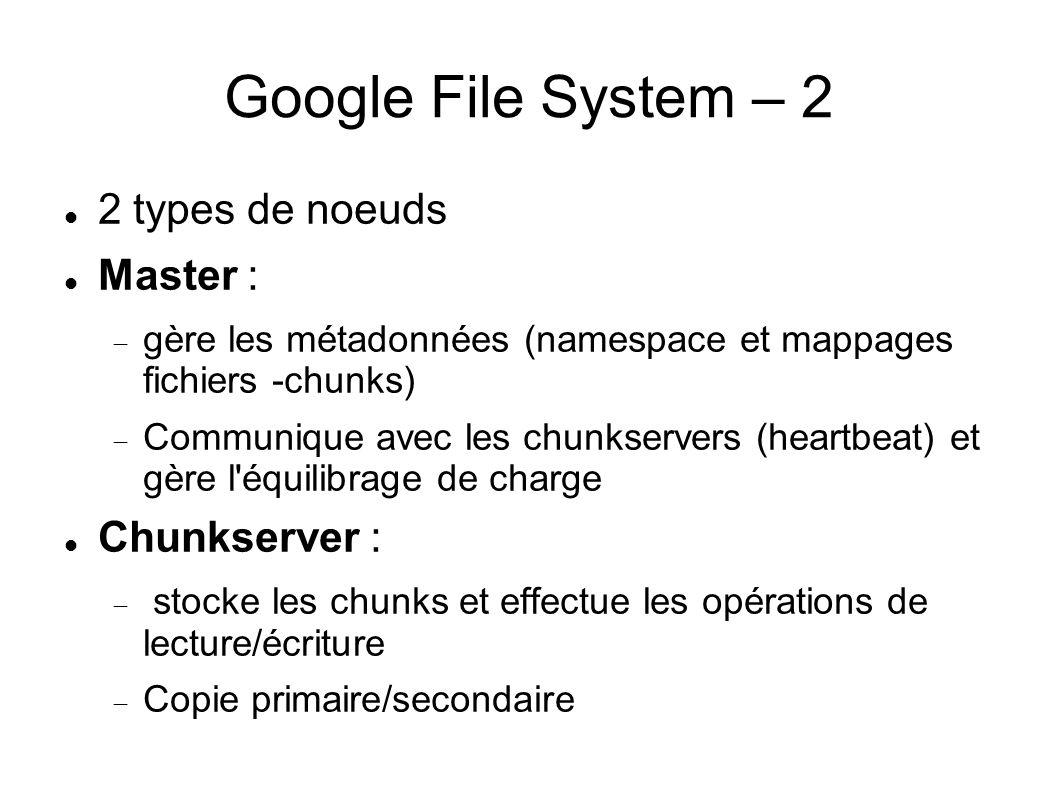 Google File System – 2 2 types de noeuds Master : Chunkserver :