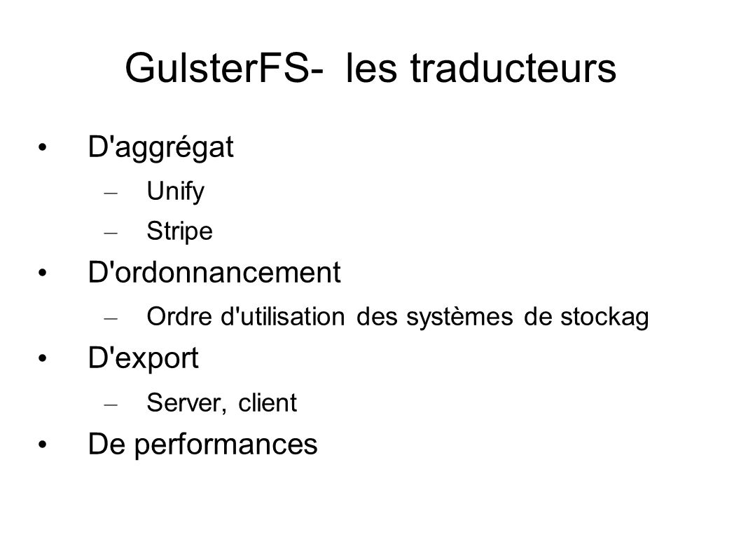 GulsterFS- les traducteurs