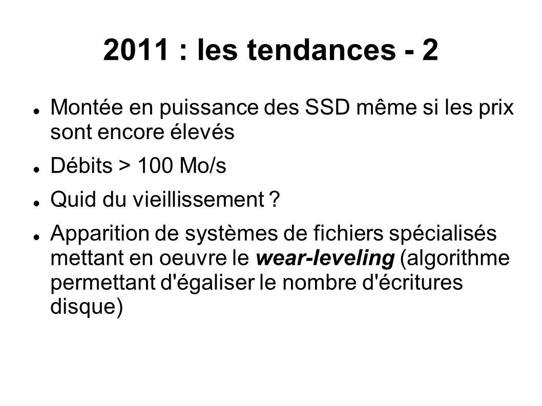 2011 : les tendances - 2 Montée en puissance des SSD même si les prix sont encore élevés. Débits > 100 Mo/s.