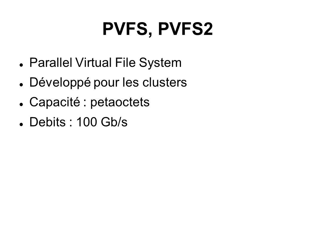 PVFS, PVFS2 Parallel Virtual File System Développé pour les clusters