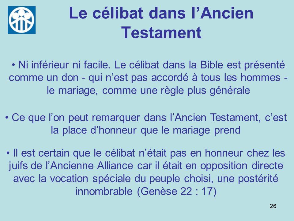 Le célibat dans l'Ancien Testament