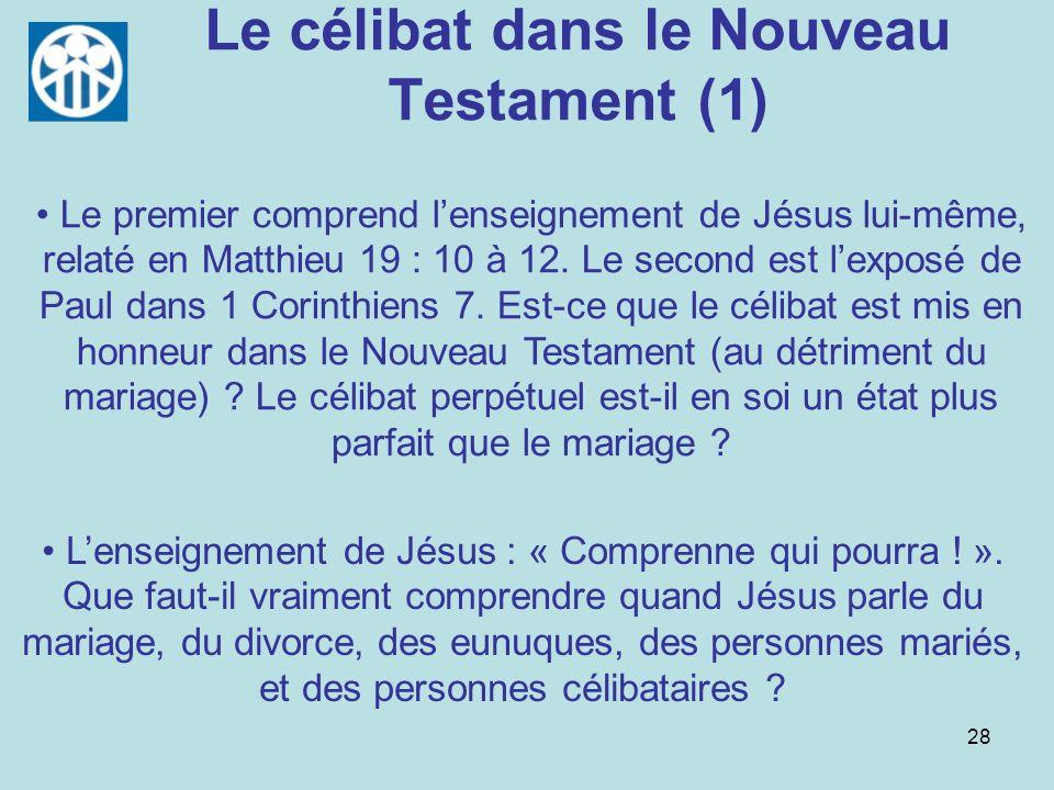 Le célibat dans le Nouveau Testament (1)