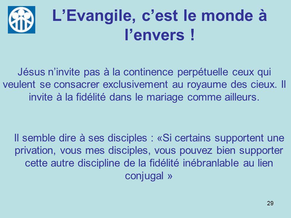 L'Evangile, c'est le monde à l'envers !
