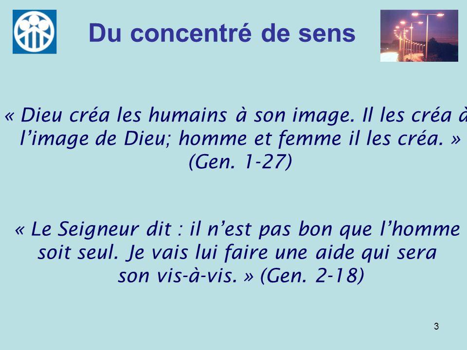 Du concentré de sens« Dieu créa les humains à son image. Il les créa à l'image de Dieu; homme et femme il les créa. » (Gen. 1-27)
