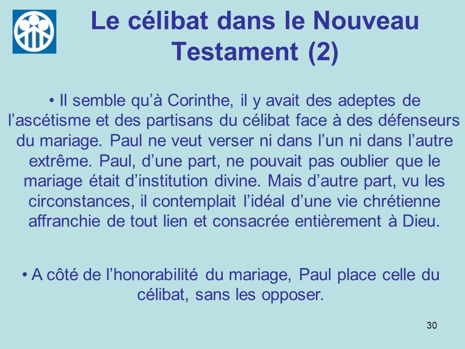 Le célibat dans le Nouveau Testament (2)