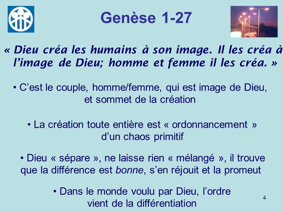 Genèse 1-27« Dieu créa les humains à son image. Il les créa à l'image de Dieu; homme et femme il les créa. »