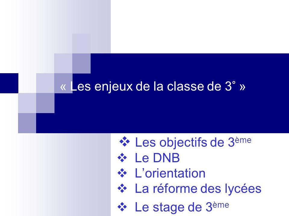 « Les enjeux de la classe de 3° »