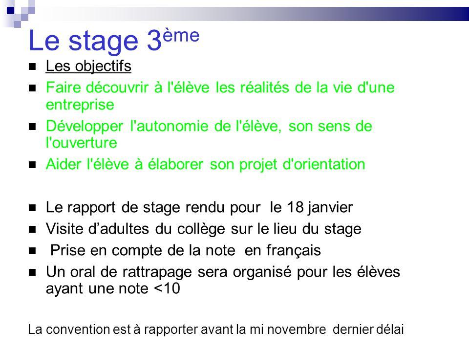 Le stage 3ème Les objectifs