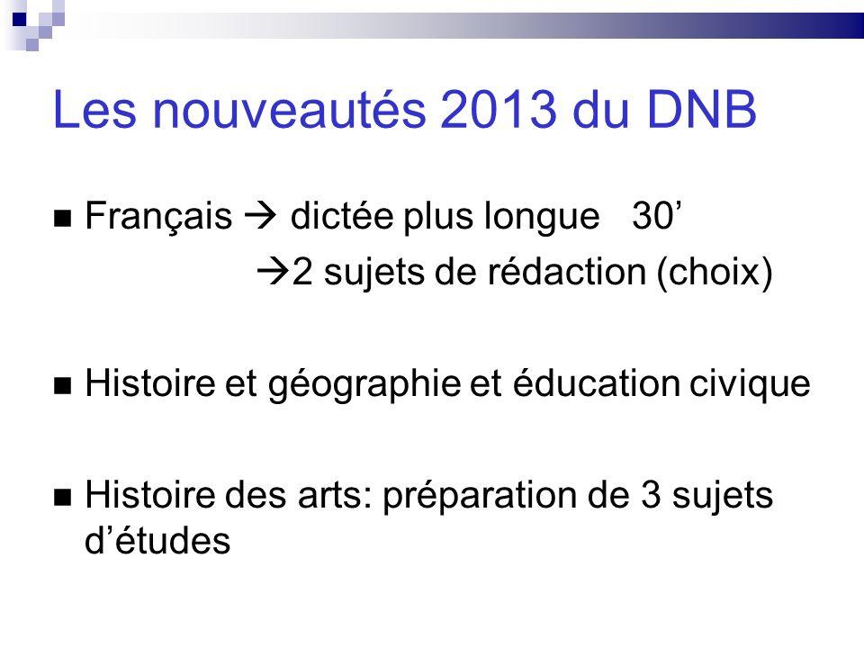 Les nouveautés 2013 du DNB Français  dictée plus longue 30'
