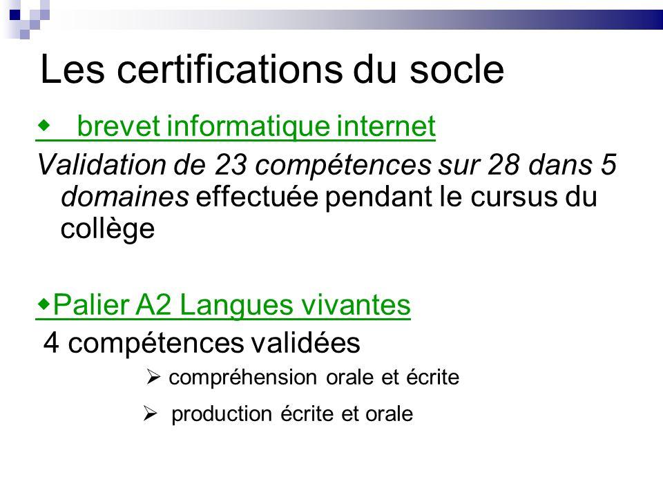 Les certifications du socle