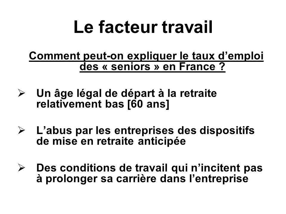 Comment peut-on expliquer le taux d'emploi des « seniors » en France