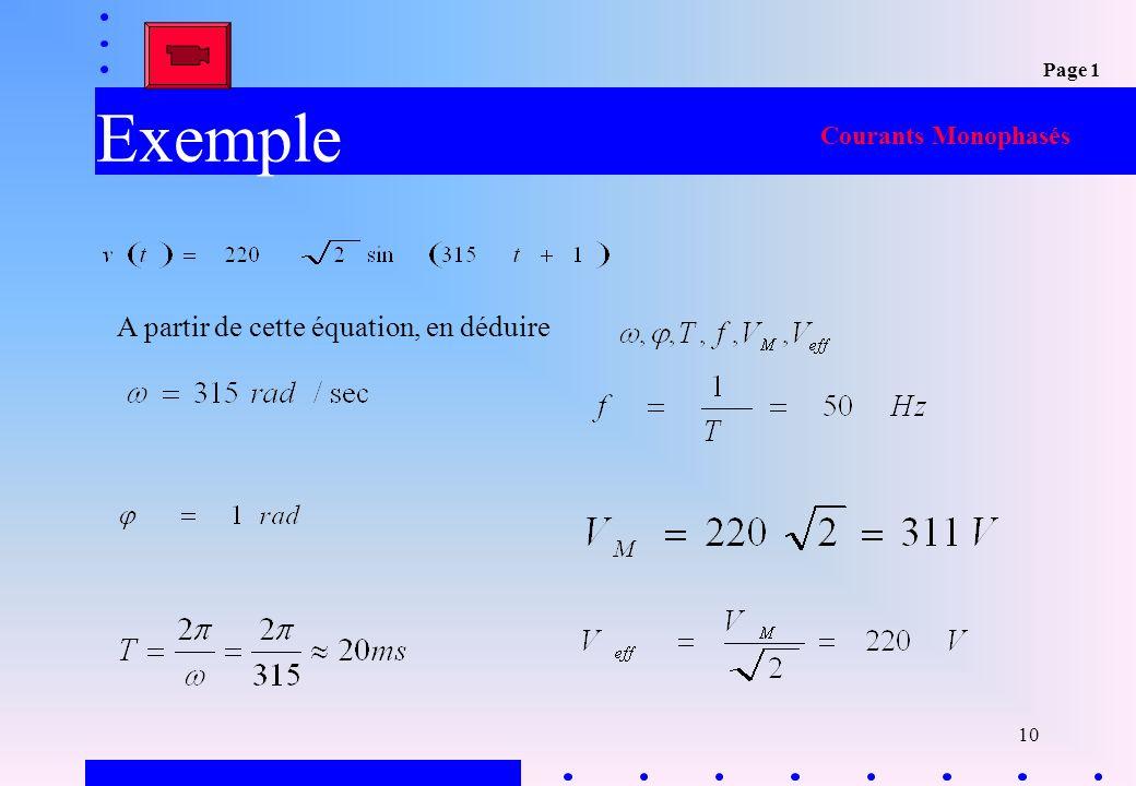 Exemple A partir de cette équation, en déduire Courants Monophasés