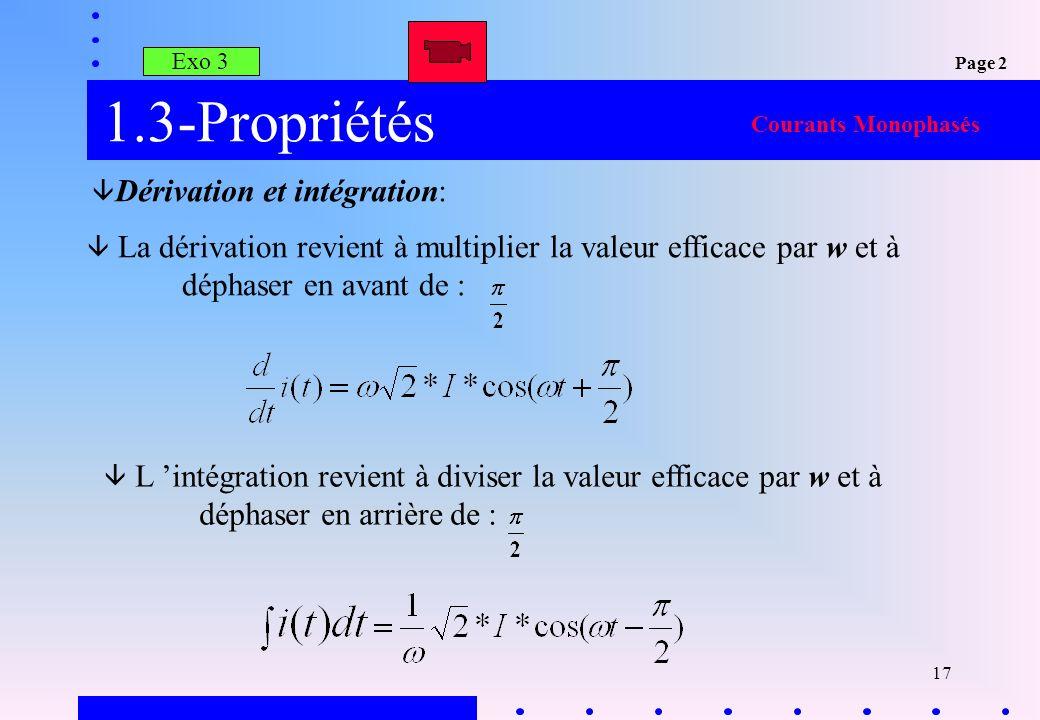 1.3-Propriétés Dérivation et intégration: