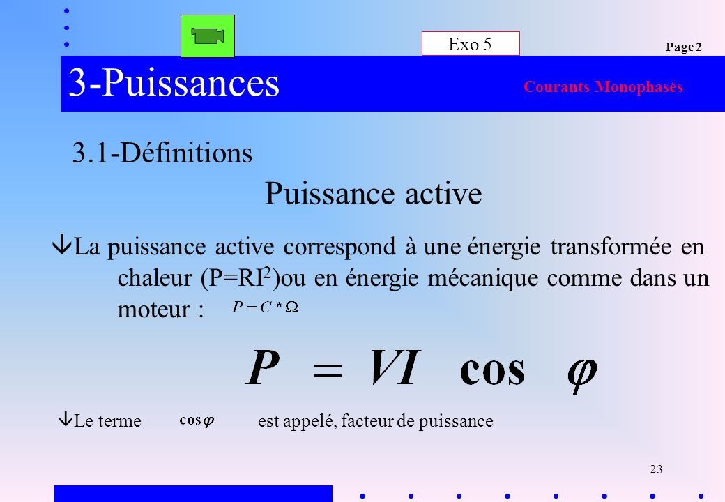 3-Puissances Puissance active 3.1-Définitions