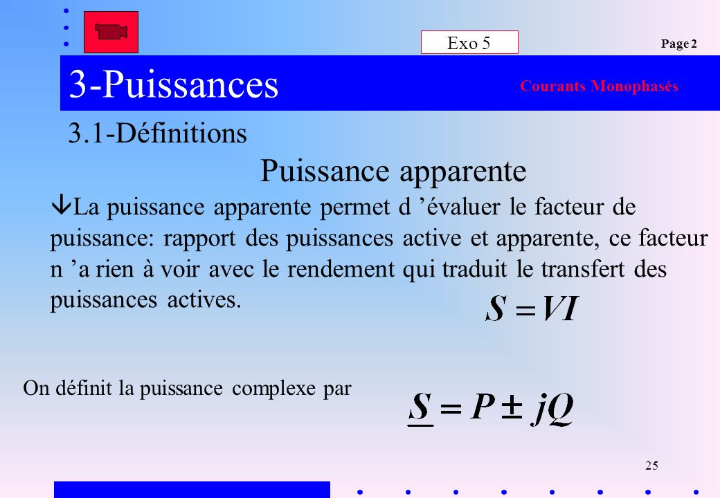 3-Puissances Puissance apparente 3.1-Définitions