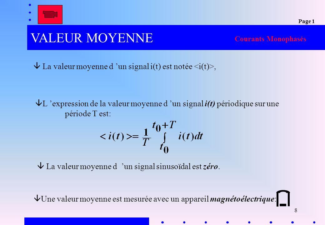 Page 1 VALEUR MOYENNE. Courants Monophasés.  La valeur moyenne d 'un signal i(t) est notée <i(t)>,