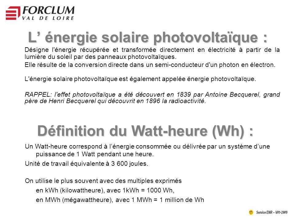 L' énergie solaire photovoltaïque :