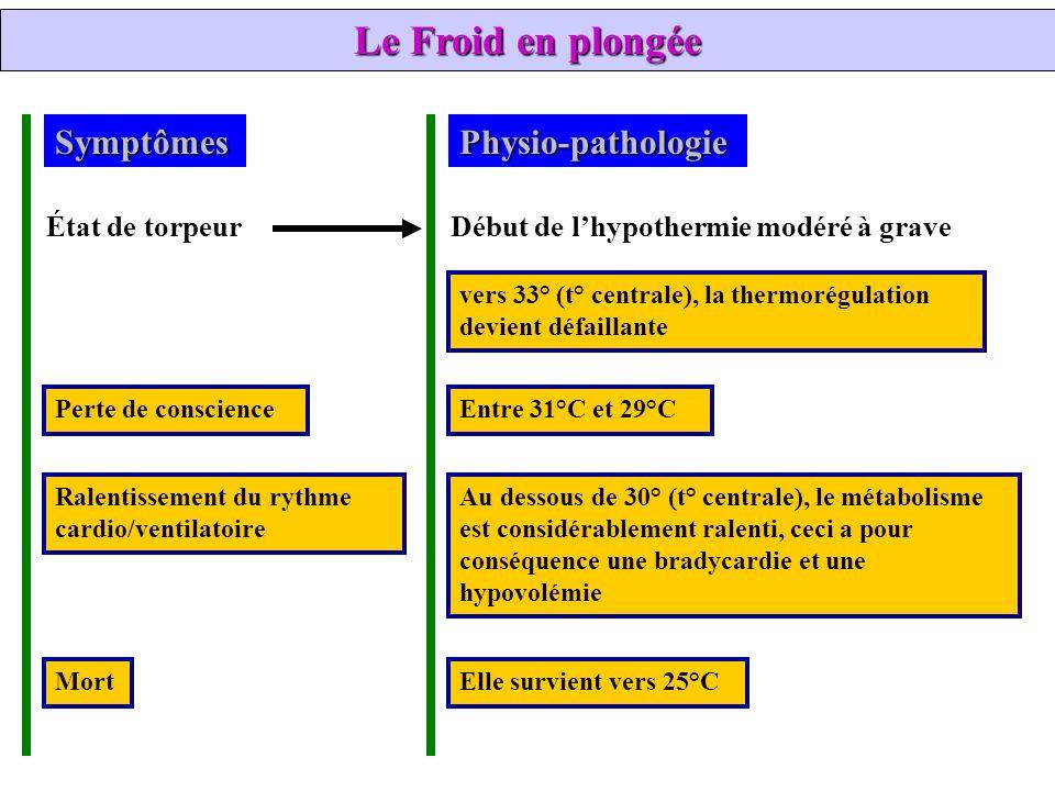 Le Froid en plongée Symptômes Physio-pathologie État de torpeur