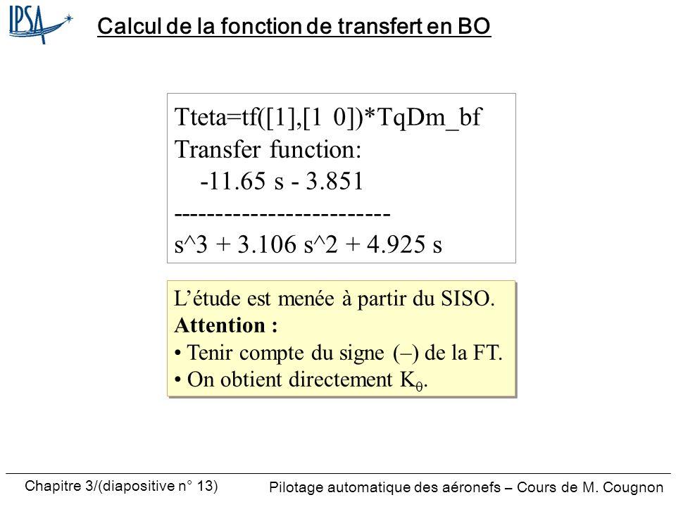 Calcul de la fonction de transfert en BO