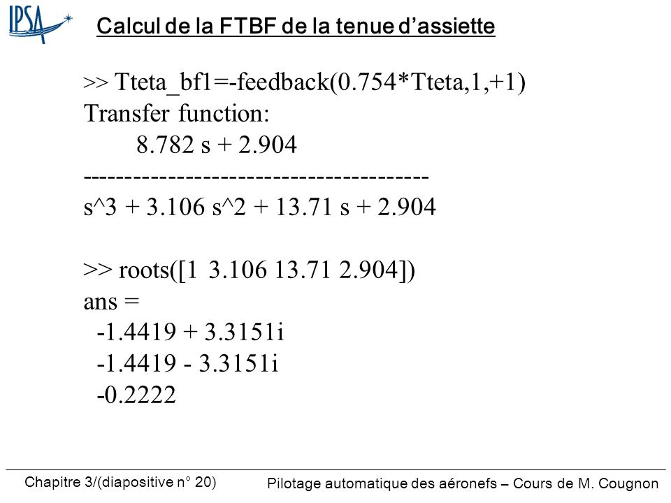 Calcul de la FTBF de la tenue d'assiette