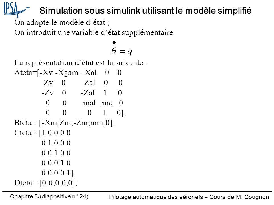 Simulation sous simulink utilisant le modèle simplifié
