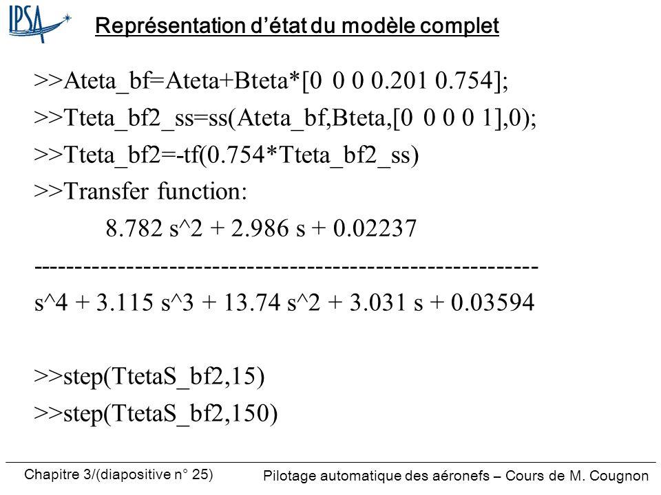 Représentation d'état du modèle complet
