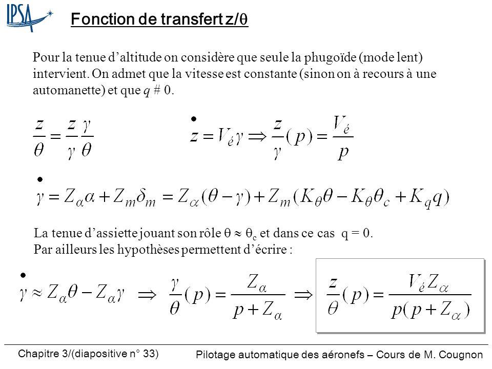 Fonction de transfert z/q