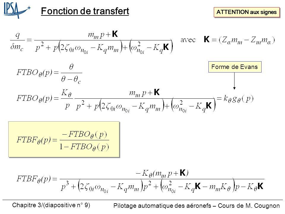 Fonction de transfert ATTENTION aux signes Forme de Evans