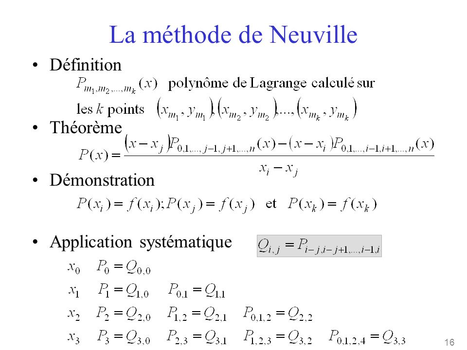 La méthode de Neuville Définition Théorème Démonstration