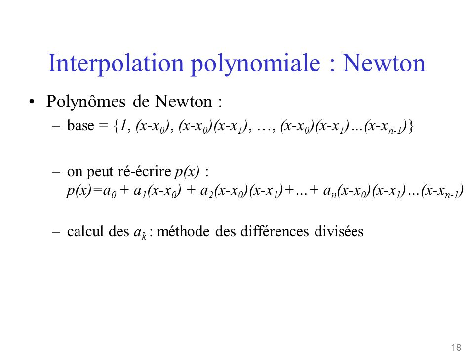 Interpolation polynomiale : Newton