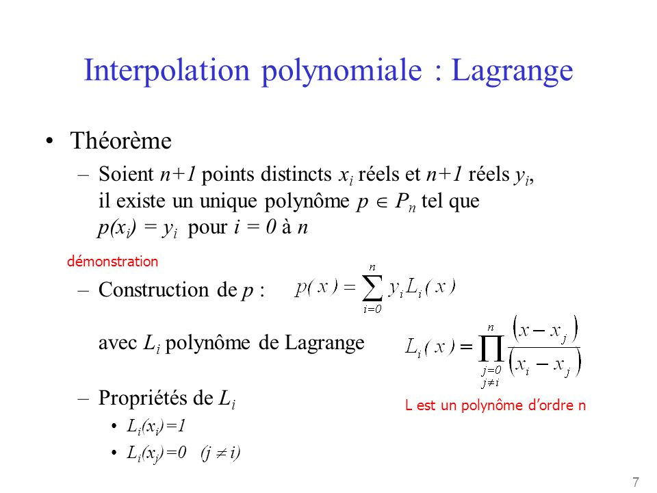 Interpolation polynomiale : Lagrange