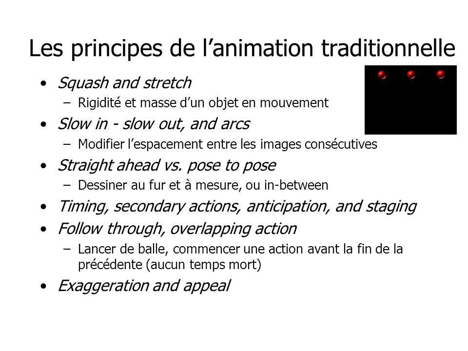Les principes de l'animation traditionnelle