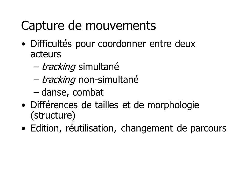 Capture de mouvements Difficultés pour coordonner entre deux acteurs