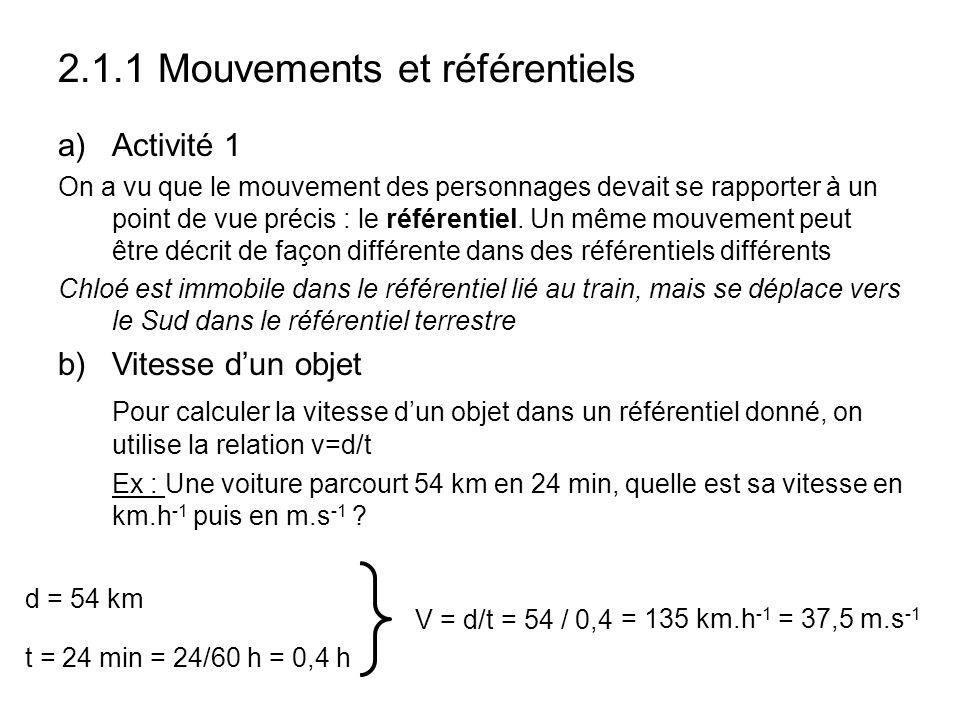 2.1.1 Mouvements et référentiels
