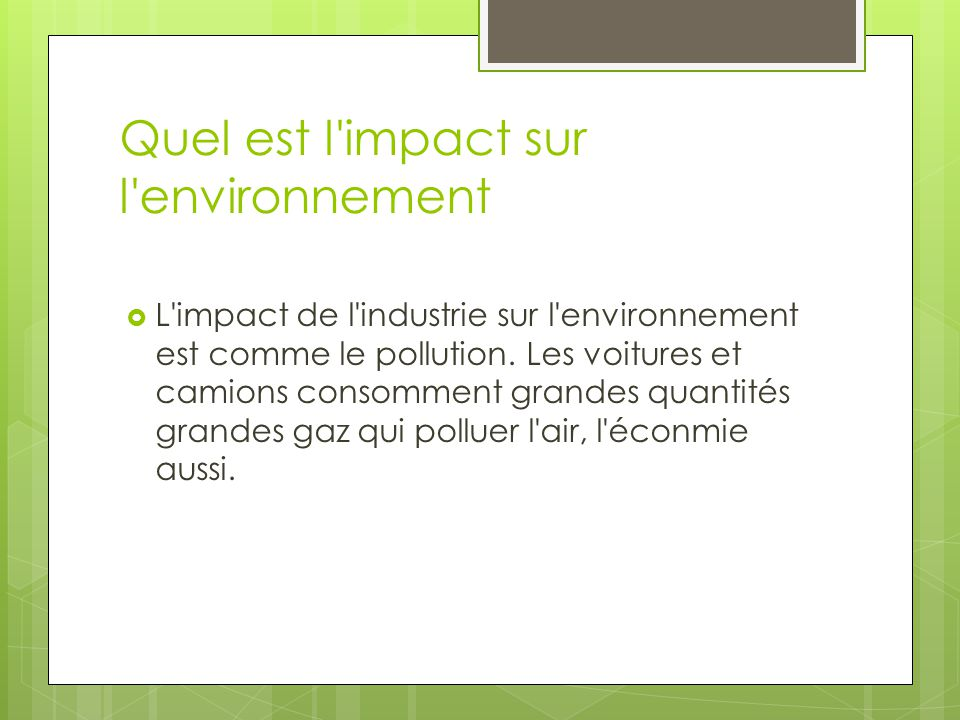 Quel est l impact sur l environnement