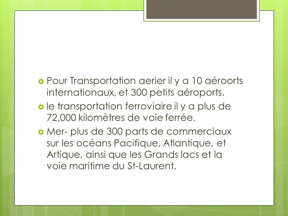 Pour Transportation aerier il y a 10 aéroorts internationaux, et 300 petits aéroports.